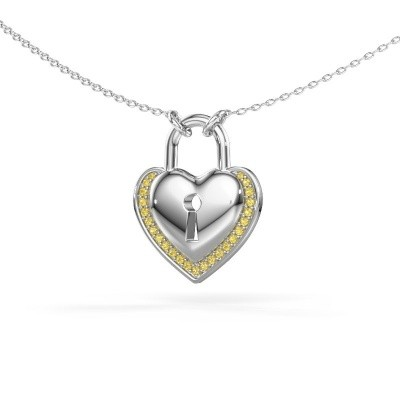 Halsketting Heartlock 925 zilver gele saffier 1 mm