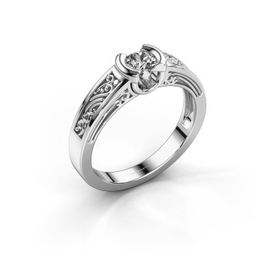 Foto van Ring Elena 585 witgoud zirkonia 4 mm