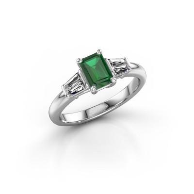 Foto van Verlovingsring Kina EME 925 zilver smaragd 6.5x4.5 mm