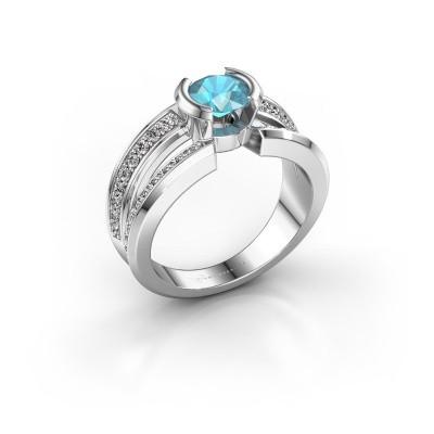 Foto van Heren ring Rowan 925 zilver blauw topaas 6.5 mm
