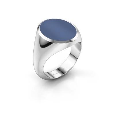 Foto van Zegelring Herman 6 375 witgoud blauw lagensteen 16x13 mm