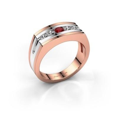 Foto van Heren ring Huub 585 rosé goud robijn 3.7 mm
