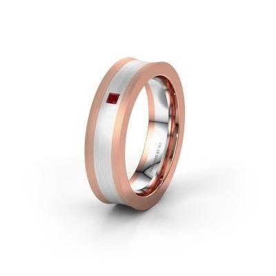 Trouwring WH2238L2 585 rosé goud robijn ±6x2.2 mm