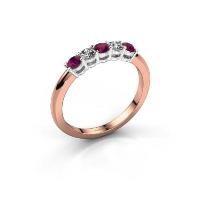 Foto van Promise ring Michelle 5 585 rosé goud rhodoliet 2.7 mm