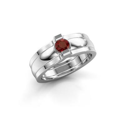 Ring Jade 925 silver garnet 4 mm