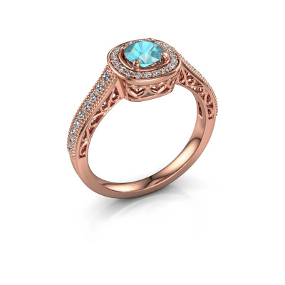 Engagement ring Candi 375 rose gold blue topaz 5 mm