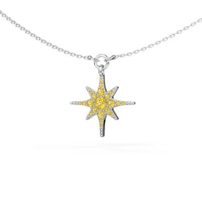 Halsketting Star 585 witgoud gele saffier 3 mm