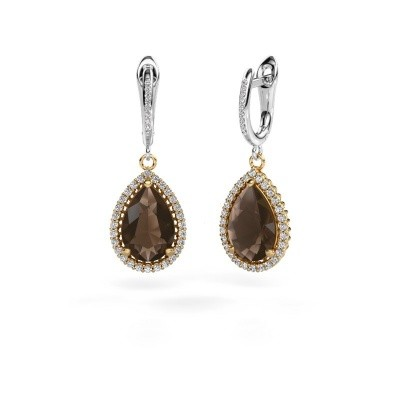 Drop earrings Hana 2 585 gold smokey quartz 12x8 mm