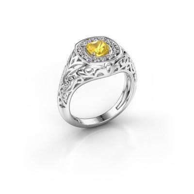 Foto van Heren ring Quinten 925 zilver gele saffier 5 mm