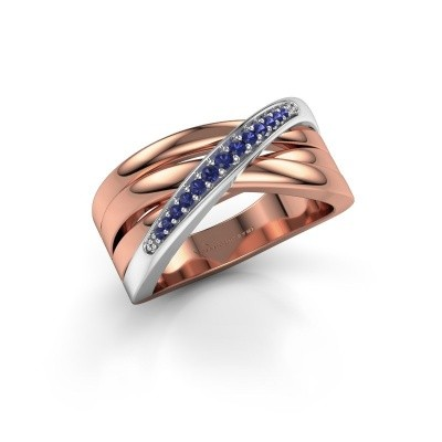 Ring Renna 2 585 rosé goud saffier 1 mm