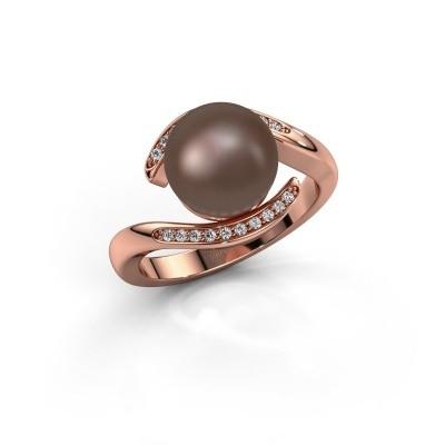 Foto van Ring Dedra 375 rosé goud bruine parel 9 mm