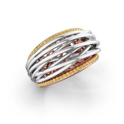 Foto van Ring Kirstin 585 rosé goud gele saffier 1 mm