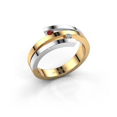 Foto van Ring Roxane 585 goud granaat 2 mm