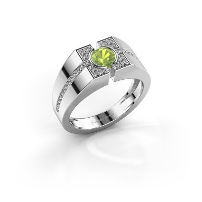 Men's ring Thijmen 925 silver peridot 5 mm