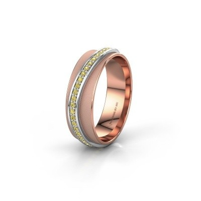 Huwelijksring WH2126L 585 rosé goud gele saffier ±6x1.7 mm
