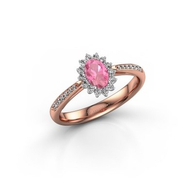 Engagement ring Tilly ovl 2 585 rose gold pink sapphire 6x4 mm