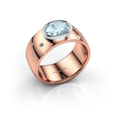 Ring Wilma 2 585 rosé goud aquamarijn 8x6 mm