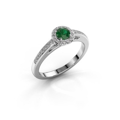 Engagement ring Aaf 585 white gold emerald 4.2 mm