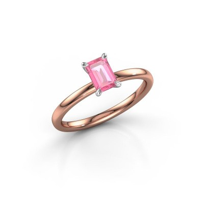 Foto van Verlovingsring Crystal EME 1 585 rosé goud roze saffier 6x4 mm