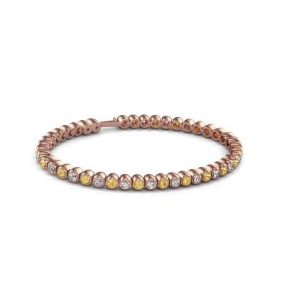 Foto van Tennisarmband Asley 375 rosé goud gele saffier 3 mm