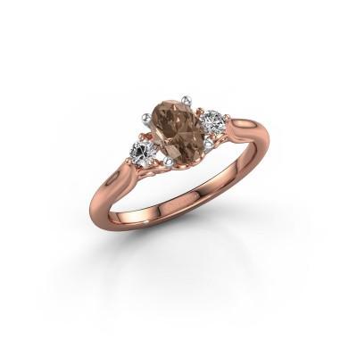 Foto van Verlovingsring Laurian OVL 585 rosé goud bruine diamant 1.00 crt