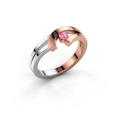 Ring Yentl 585 rosé goud roze saffier 3 mm