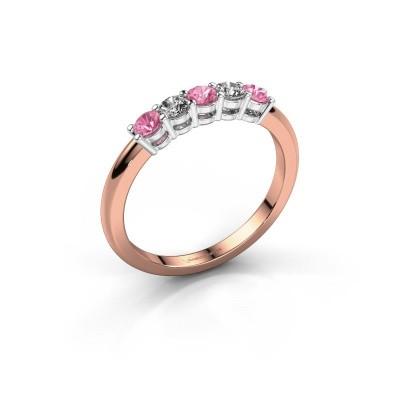 Foto van Promise ring Michelle 5 585 rosé goud roze saffier 2.7 mm