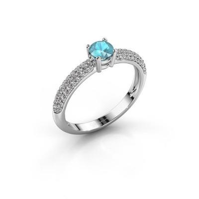 Foto van Ring Marjan 585 witgoud blauw topaas 4.2 mm