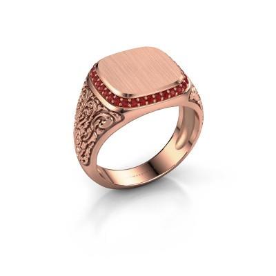 Heren ring Jesse 2 375 rosé goud robijn 1.2 mm