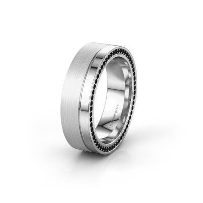 Trouwring WH0313L16B 950 platina zwarte diamant ±6x2 mm