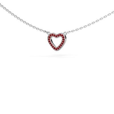 Foto van Hanger Heart 4 925 zilver robijn 0.8 mm