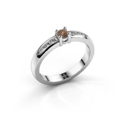 Verlovingsring Zohra 925 zilver bruine diamant 0.237 crt