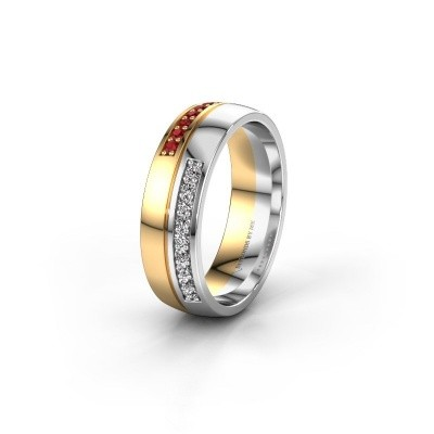 Wedding ring WH0213L26AP 585 gold ruby ±0.24x0.07 in