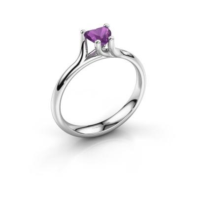 Engagement ring Dewi Heart 950 platinum amethyst 5 mm