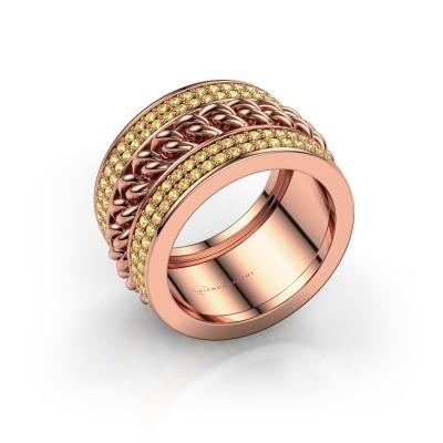 Foto van Ring Jayda 375 rosé goud gele saffier 1.2 mm