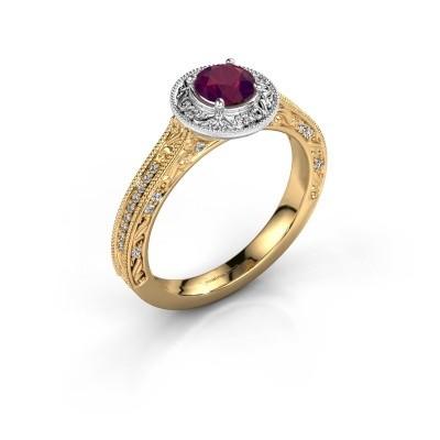 Verlovings ring Alice RND 585 goud rhodoliet 5 mm