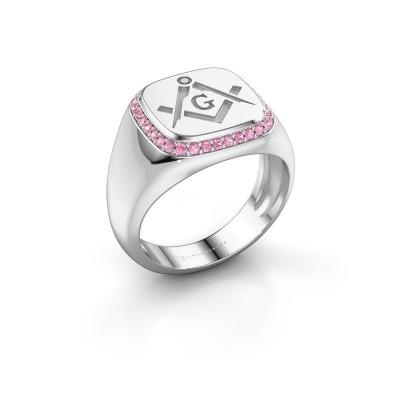 Foto van Heren ring Johan 925 zilver roze saffier 1.2 mm