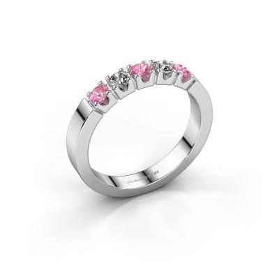 Foto van Verlovingsring Dana 5 585 witgoud roze saffier 3 mm