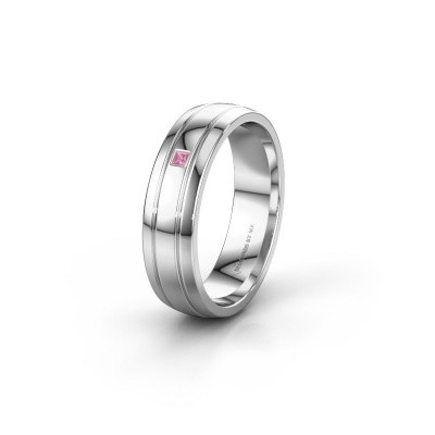 Wedding ring WH0422L25X 585 white gold pink sapphire ±0.20x0.06 in
