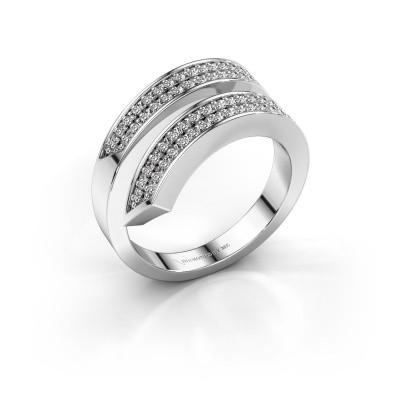Ring Pien 585 witgoud zirkonia 1.2 mm