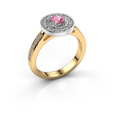 Foto van Verlovingsring Lisanne 585 goud roze saffier 4 mm