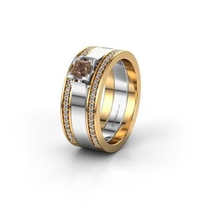 Trouwring WH2121L 585 goud bruine diamant ±8x1.7 mm