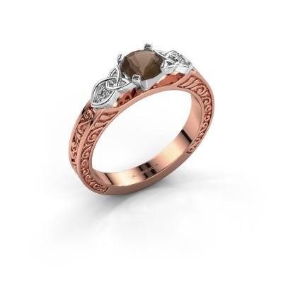 Verlovingsring Gillian 585 rosé goud rookkwarts 5 mm