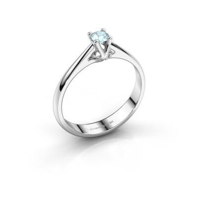 Engagement ring Janna 1 585 white gold aquamarine 3.4 mm
