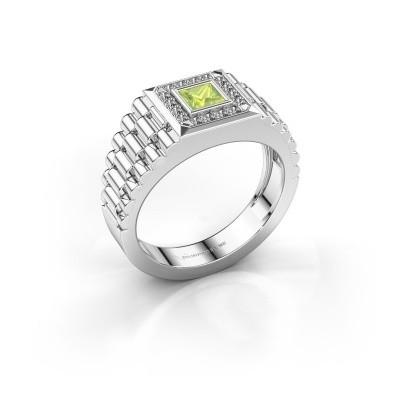Heren ring Zilan 950 platina peridoot 4 mm