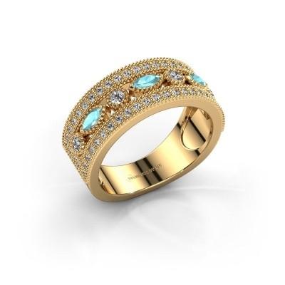 Ring Henna 375 goud blauw topaas 4x2 mm