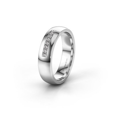 Trouwring WH0112L25BP 585 witgoud diamant ±5x2 mm