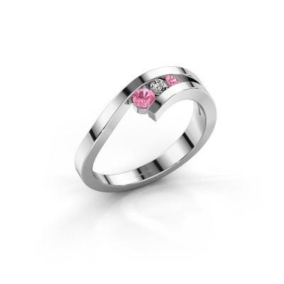 Ring Evalyn 2 585 witgoud roze saffier 2.8 mm
