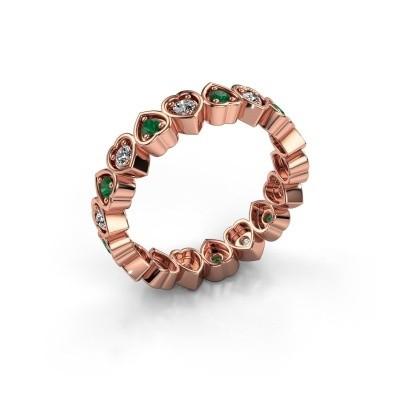 Stackable ring Pleun 375 rose gold emerald 2 mm