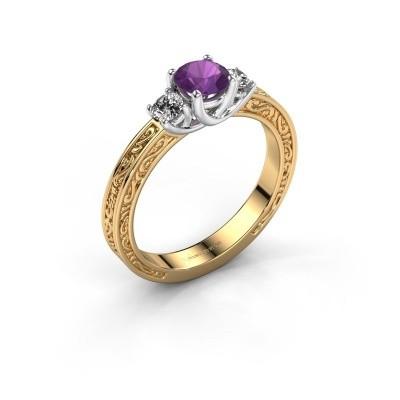 Verlovingsring Betty 1 585 goud amethist 5 mm